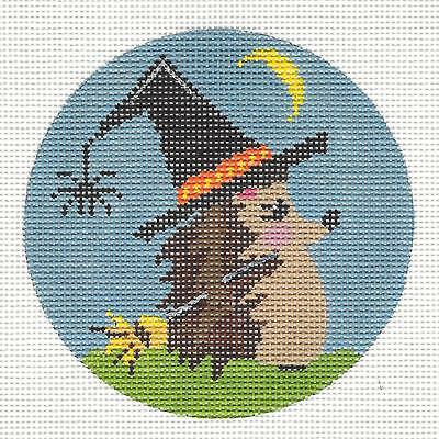Halloween Witches Hat Hedgehog handpainted Needlepoint Canvas by ZIA from Danji - Halloween Hedgehog