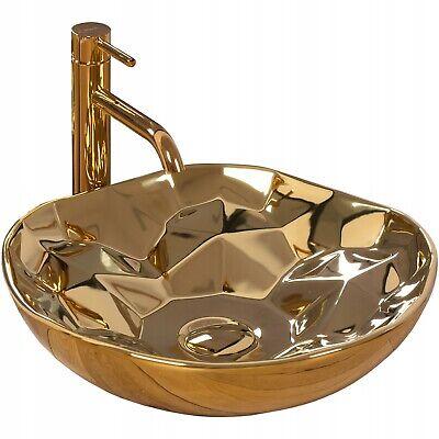 Waschtisch-waschbecken (Keramik Waschtisch Waschbecken Aufsatzwaschbecken PARIS GOLD Modern Chic)