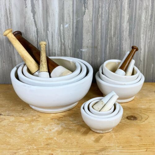 Vintage Ceramic Pharmacy Mortar and Pestle- Set of 3 Large size
