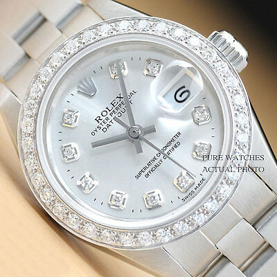 $3490.00 - ROLEX LADIES SILVER DIAMOND DATEJUST 18K WHITE GOLD & STAINLESS STEEL WATCH