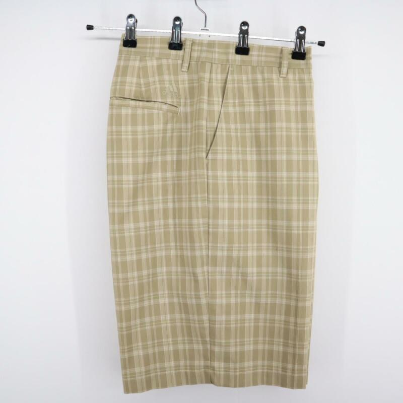 Men Adidas Brown Plaid Athletic Chino Golf Shorts Size 35 Performance Flat Front