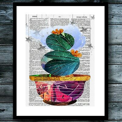 Cactus Dictionary Print Poster Bohemian Watercolor Hippie Modern Wall Art ](Bohemian Wall Art)