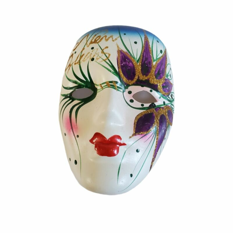 """Mardi Gras Porcelain Hand Painted Mask 5"""" - Handcrafted New Orleans Vibrant"""