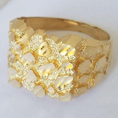 Big Men's 14k yellow Gold Nugget Ring S 9 10 11 12