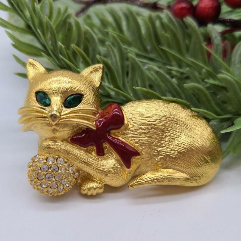 Vintage Napier Signed Green Crystal Rhinestone Cat Christmas Brooch Pin