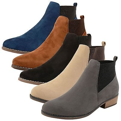 Womens Dolcis Pull On Flat Chelsea Ankle Boots Ladies Low Heel ...