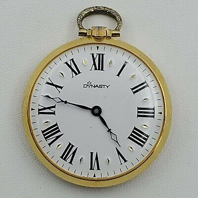 Working Vintage Dynasty Mechanical Windup Gold Tone Pocket Watch