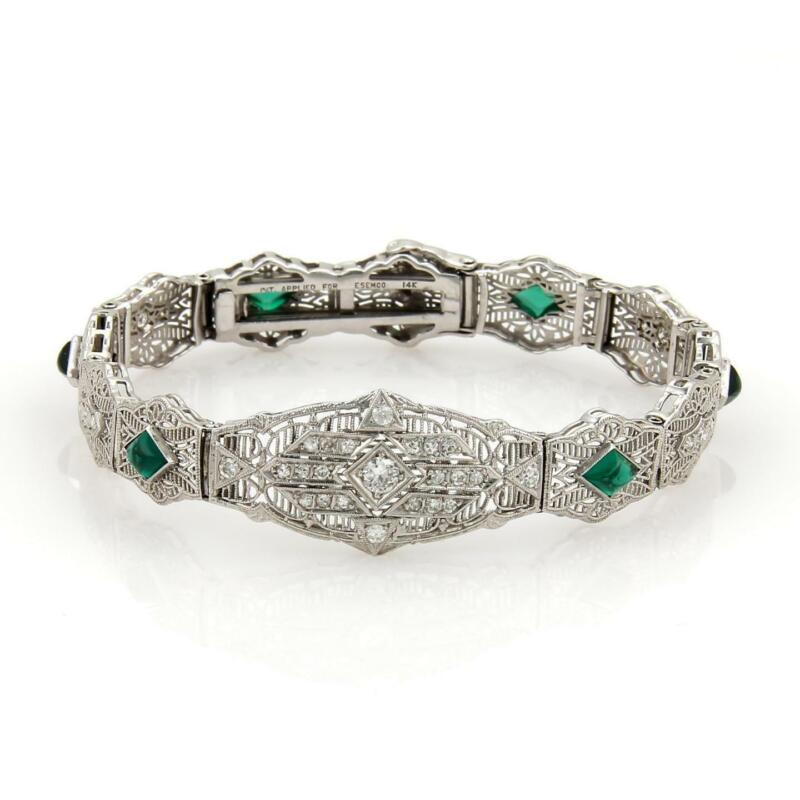 Art Deco Diamond Emerald 14k White Gold Filigree Fancy Link Bracelet