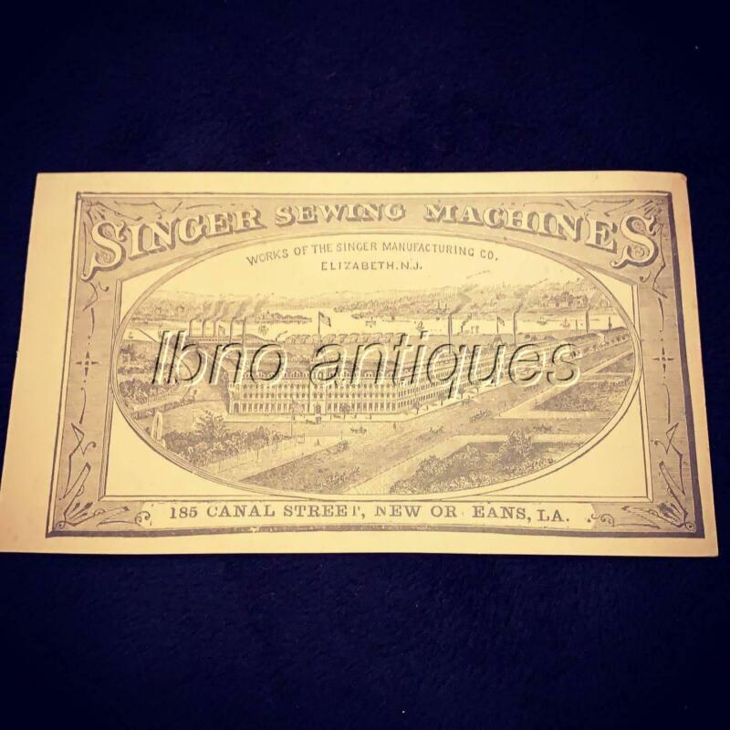 SINGER SEWING MACHINES VICTORIAN TRADE CARD . NEW ORLEANS ADVERTISING