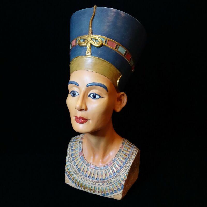 "Large Egyptian Queen Nefertiti Bust Resin Statue Nefretete Figurine 11.5"" Tall"