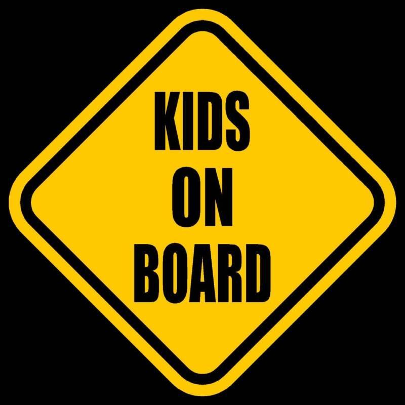 "KIDS ON BOARD Window Decal/Sticker Yellow 5.5""H"