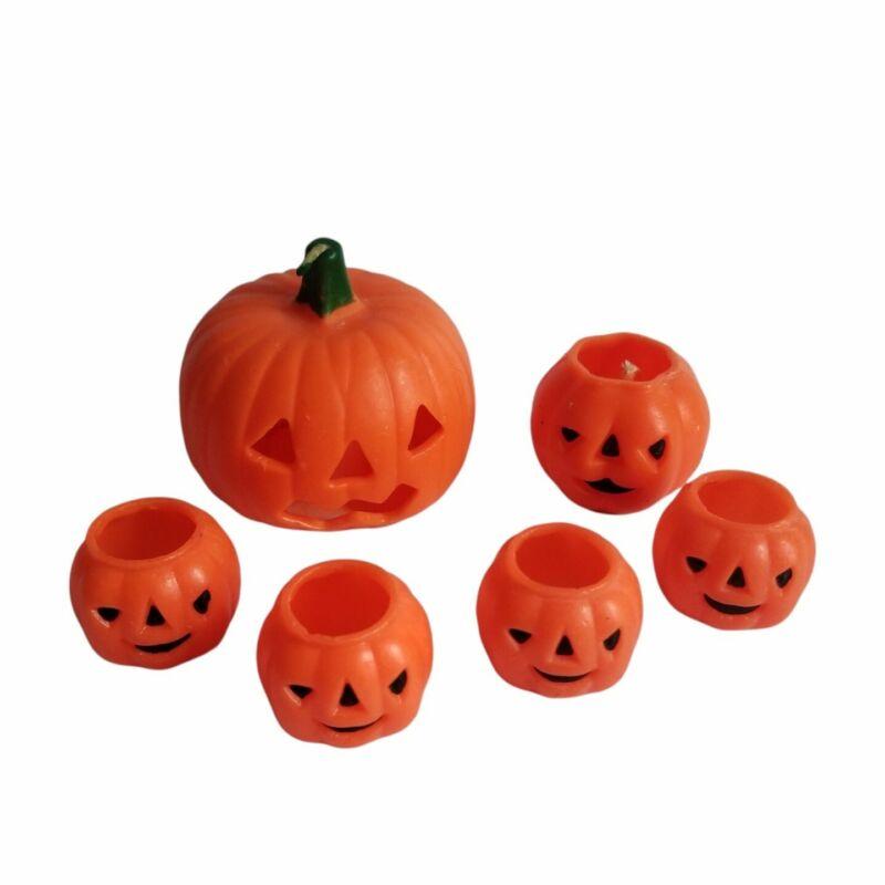 Vintage Gurley Halloween Jack O Lantern Candle Lot of 6 Pumpkins