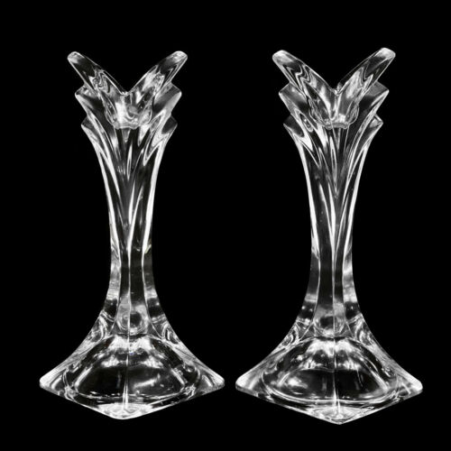 Vintage Art Deco Pressed Glass Crystal Flared Candlestick Holders - A Pair