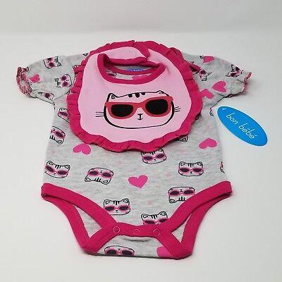NWT New Bon Bebe Girls Bodysuit & Bib Pink Gray Cat Sunglasses Size 6-9 Months