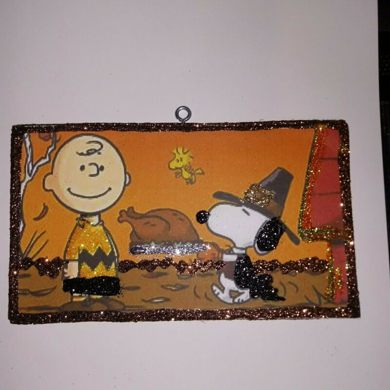 Vtg Image~Charlie Brown Snoopy Thanksgiving ~ Thanksgiving Glitter Wood Ornament