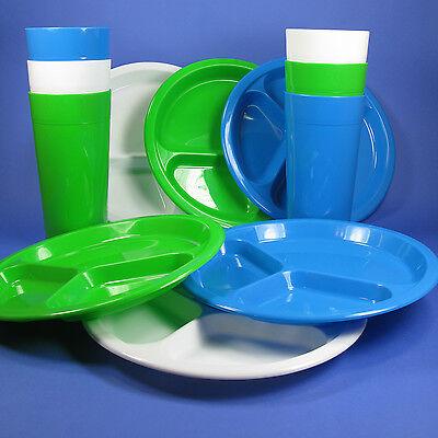 PLASTIC PICNIC DINING SET 10'' DIVIDER PLATES & 30oz TUMBLERS ARROW BPA FREE USA - Plastic Divider Plates