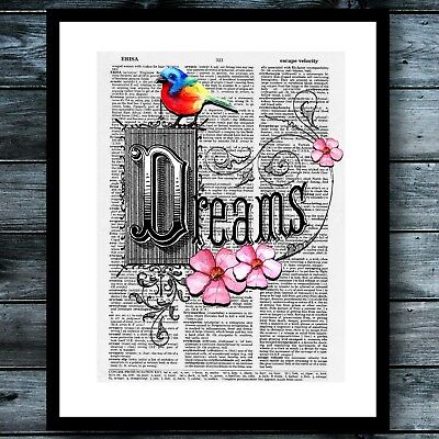 Bohemian Floral Watercolor Bird Modern Wall Art Print Vintage Dictionary Poster ](Bohemian Wall Art)