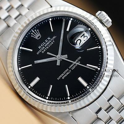ROLEX MENS BLACK DIAL DATEJUST 18K WHITE GOLD & STAINLESS STEEL WATCH
