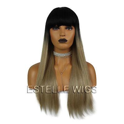 Ombre Darkest Brown/Dark Blonde   Straight Full Fringe Full Wig Ombre Fringe