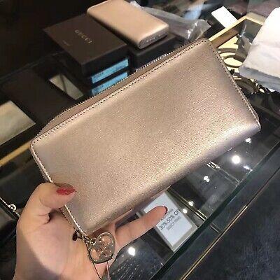 New Gucci Women's Rose Quartz Metallic Leather Zip Around Wallet 308005 5711