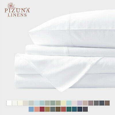 400 TC PURE 100% COTTON BEST QUALITY WHITE QUEEN 6 PC BEDDING SMOOTH SHEETS