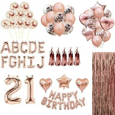Rose Gold Happy Birthday Banner Balloons Bunting 18/21st/30/40/50/60 Party Decor