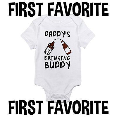 Daddy Drinking Buddy Baby Onesie Shirt Shower Gift Dad Beer
