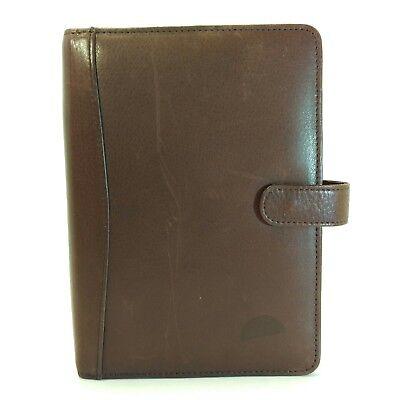 Brown Leather Binder Planner Organizer Snap 7.5 X 5.5
