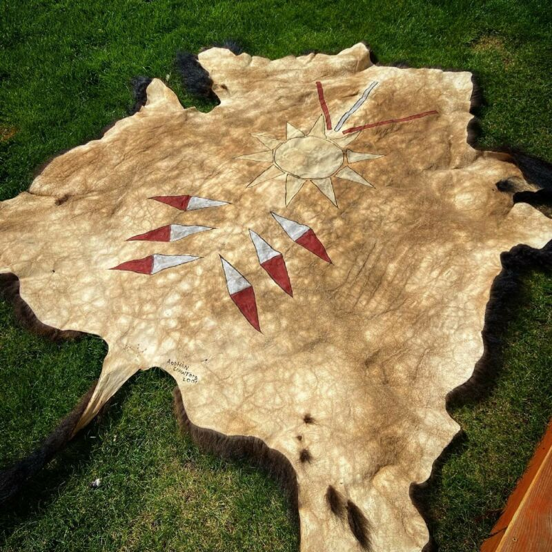 Buffalo Hide Native American Buffalo Robe Traditional Pigment Painted Hide
