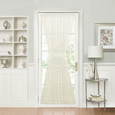 Batiste Sheer French Door Curtain Panel W/ Tieback - Assorted Colors & Sizes - French Door Panel