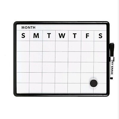 Contempo Magnetic Monthly Calendar Dry Erase Board 11 X 14 Inches White Frame