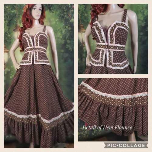 Vtg 70s Gunne Sax Corset Lace Up Prairie Floral Calico Peasant Maxi Dress,31/34″