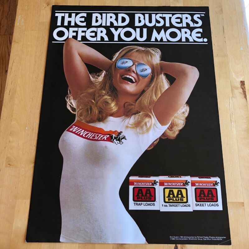 """Vintage 1982 WINCHESTER The Bird Busters Offer You More Poster Size 28"""" x 20"""""""