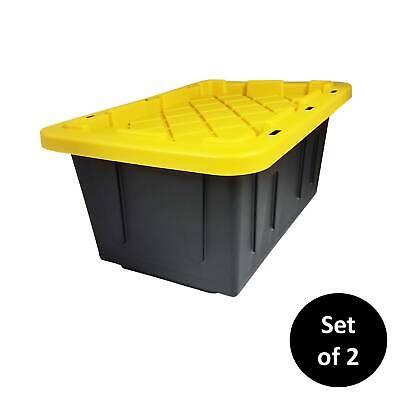 HOMZ 15 Gallon Durabilt Tough 15 Gallon - Set of 2 Black and Yellow Tough Tote