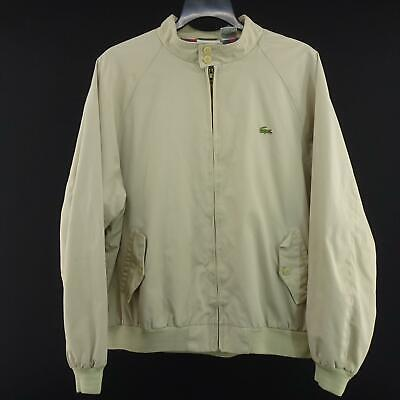 Men Izod Lacoste Tan Bomber Varsity Jacket Size XL Athletic Coat Beige Casual