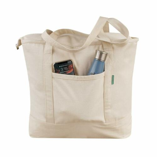 Earthwise Reusable Grocery Bag 100% Cotton Heavy Duty Tote in Natural Large