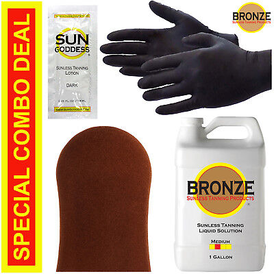 Best Spray Tan Solution - MEDIUM - 1 GALLON + Sunless Tanning Self Tanner