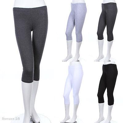Women's Basic Plain Solid Capri Leggings Mid-Calf Length Skinny Cotton S M L