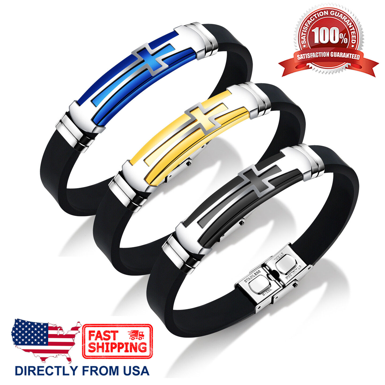 Men's Stainless Steel Cross and Black Silicone Bracelet Bracelets