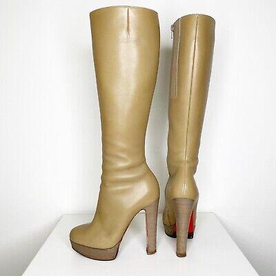 Christian Louboutin Bibi Boots Beige Leather 140mm Platform Sz 36.5 140 Mm Boots