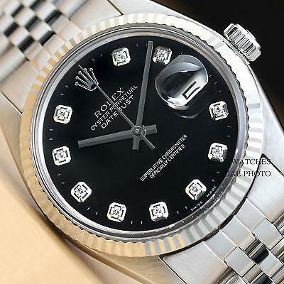 MENS ROLEX BLACK DIAMOND DATEJUST OYSTER PERPETUAL 18K WHITE GOLD/SS WATCH