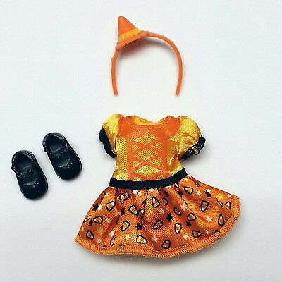 Barbie Chelsea Kelly Doll Clothes Halloween Candy Corn Dress headband Shoes New