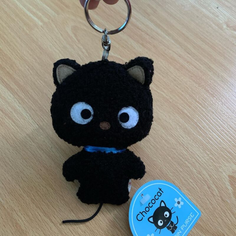 Sanrio Vintage Chococat Black Cat Plush Coin Purse Keychain Trinket