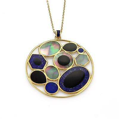 Lapis Candy (Ippolita Rock Candy Mother of Pearl Onyx Lapis 18k Gold Round Pendant)