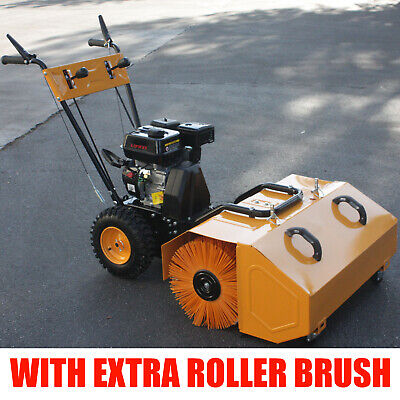 6.5hp Walk Behind Snow Lawn Turf Clean Sweeper W Dust Collector Extra Brush