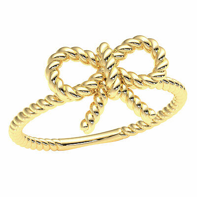Womens Love Knot Rope Band Ring Solid 10k / 14k / 18k White Yellow or Rose Gold