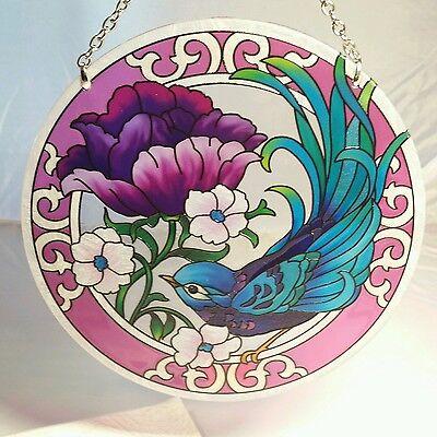"Joan Baker designs hand painted 6.5 "" teal swallows sun catcher nice NIB"