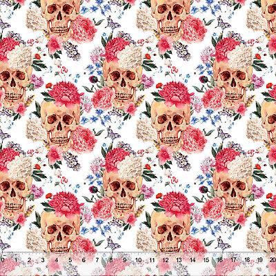 (Flowering Skulls - Home Decor Fabric Polyester 62
