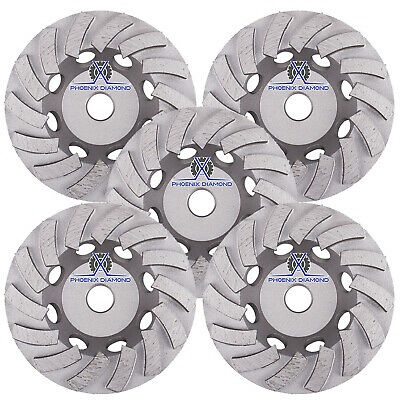 5pack 7 Turbo Diamond Grinding Cup Wheel For Concrete 24 Segs - 58-11 Threads