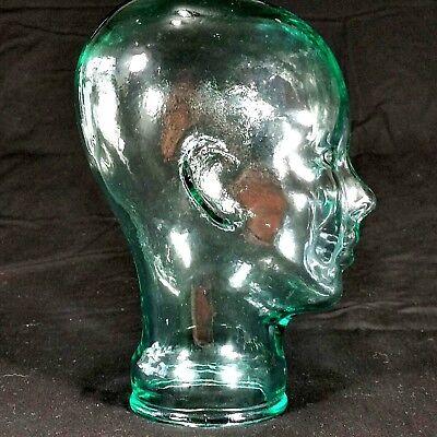 Glass Human Head Model Display Stand Mannequin Wig Hat Glasses Clear Green Aqua